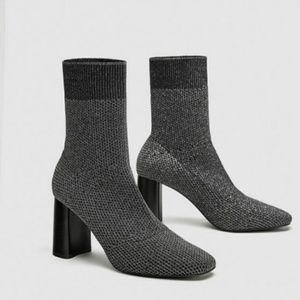 ZARA silver shimmery sock ankle boots